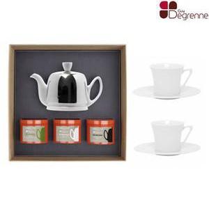 Guy Degrenne - Théière + 2 tasses & boites de thé